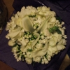 Calla, Ranunculous and freesia bq with bouvardia and pearls