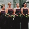 Bridesmaids contrasting bouquets