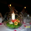 Goldfishbowl with Candle and beargrass.