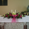 Altar arrangement in Pinks and Lime Green