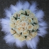 Brides Bq of Vendella Roses and White Feathers