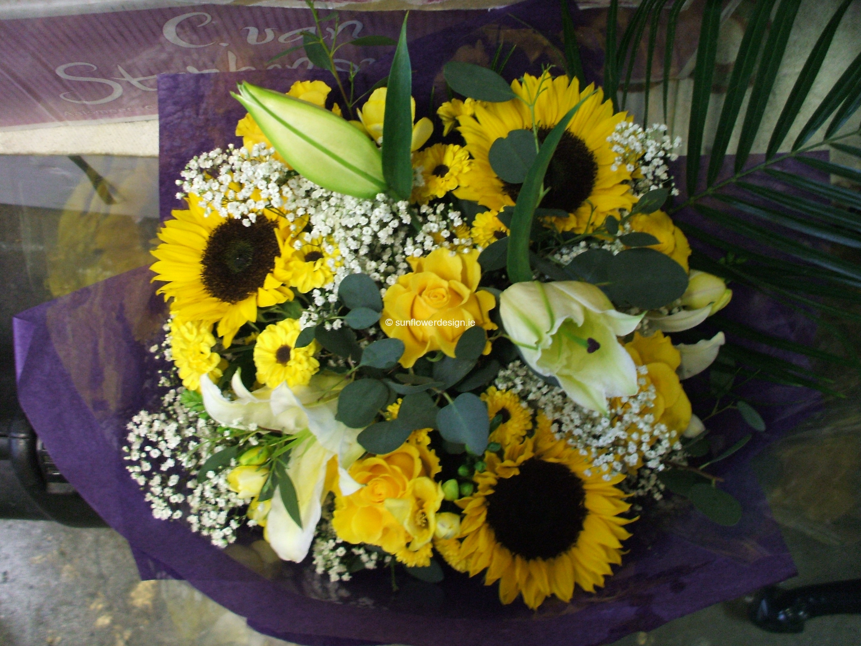 Bouquet of Sunflowers, Roses and Lilies